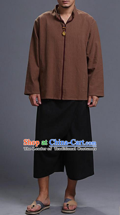 Traditional Top Chinese National Tang Suits Linen Costume, Martial Arts Kung Fu Stand Collar Long Sleeve Brown Overcoat, Chinese Kung fu Upper Outer Garment Blouse, Chinese Taichi Thin Shirts Wushu Clothing for Men
