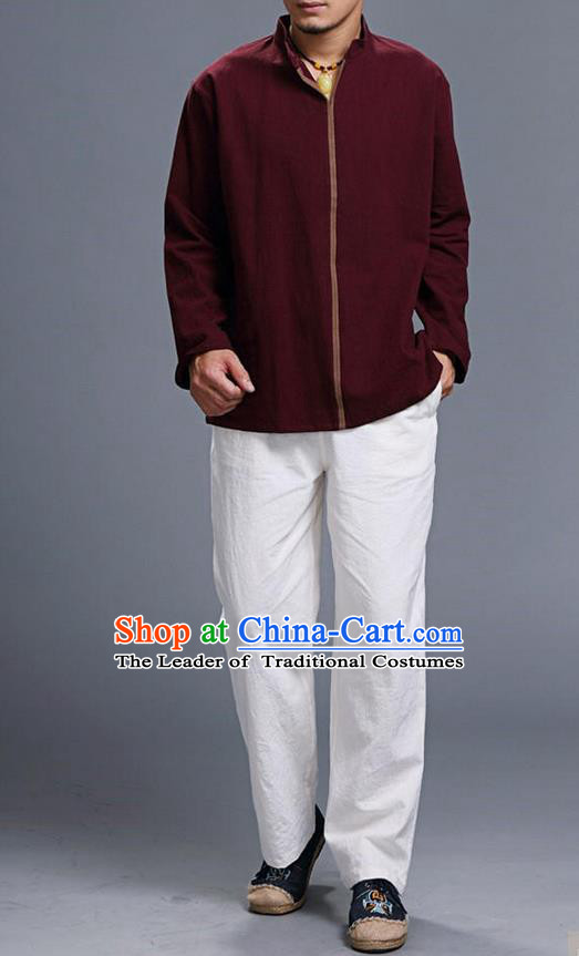 Traditional Top Chinese National Tang Suits Linen Costume, Martial Arts Kung Fu Stand Collar Long Sleeve Dark Red Overcoat, Chinese Kung fu Upper Outer Garment Blouse, Chinese Taichi Thin Shirts Wushu Clothing for Men
