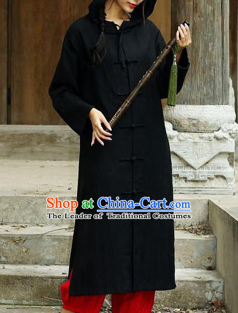 Traditional Top Chinese National Tang Suits Linen Costume, Martial Arts Kung Fu Front Opening Black Hooded Coats, Chinese Kung fu Plate Buttons Dust Coats, Chinese Taichi Long Coats Wushu Clothing for Women