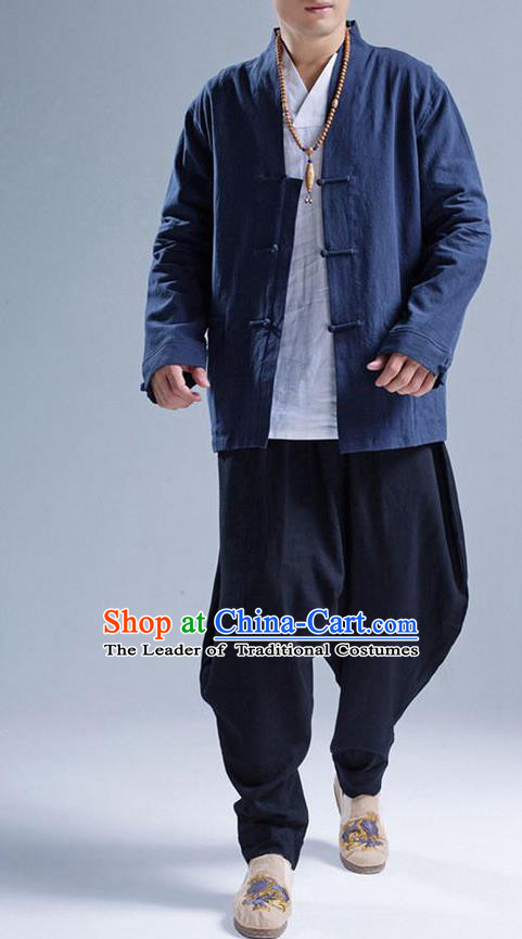 Traditional Top Chinese National Tang Suits Linen Front Opening Costume, Martial Arts Kung Fu Navy Coats, Chinese Kung fu Plate Buttons Jacket, Chinese Taichi Short Coats Wushu Cardigan Clothing for Men