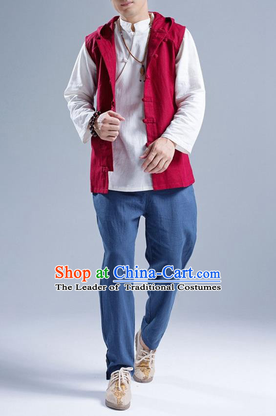 Traditional Top Chinese National Tang Suits Linen Front Opening Costume, Martial Arts Kung Fu Red Hooded Vests, Kung fu Plate Buttons Unlined Upper Garment Waistcoat, Chinese Taichi Vest Wushu Clothing for Men
