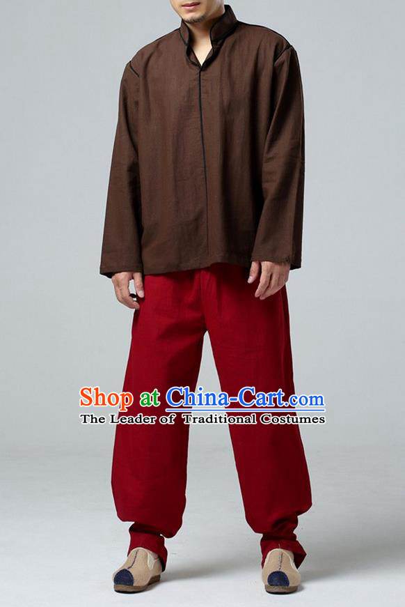 Traditional Top Chinese National Tang Suits Linen Costume, Martial Arts Kung Fu Stand Collar Brown T-Shirt, Chinese Kung fu Upper Outer Garment Blouse, Chinese Taichi Shirts Wushu Clothing for Men