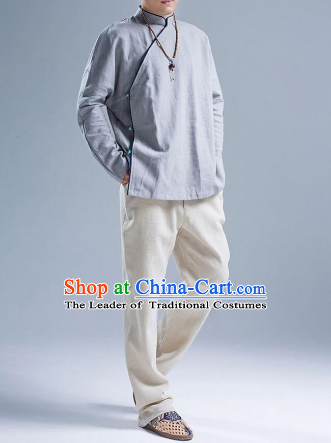 Traditional Top Chinese National Tang Suits Linen Slant Opening Costume, Martial Arts Kung Fu Stand Collar Blue Shirt, Chinese Kung fu Upper Outer Garment Blouse, Chinese Taichi Shirts Wushu Clothing for Men