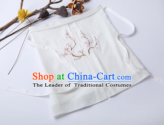 Traditional Ancient Chinese Costume Chest Wrap, Elegant Hanfu Boob Tube Top Clothing Chinese Song Dynasty Embroidery Plum Blossom White Condole Belt for Women