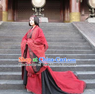 Traditional Ancient Chinese Imperial Empress Wedding Costume, Elegant Hanfu Red Dress Chinese Qin Dynasty Imperial Queen Elegant Tailing Embroidered Clothing for Women