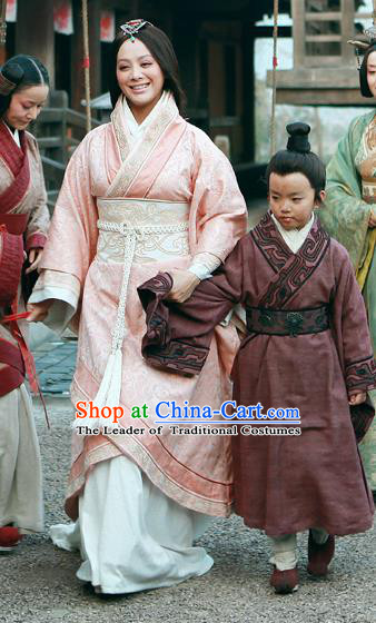 Traditional Ancient Chinese Imperial Consort Costume, Elegant Hanfu Orphrey Dress Chinese Qin Dynasty Imperial Concubine Embroidered Clothing for Women