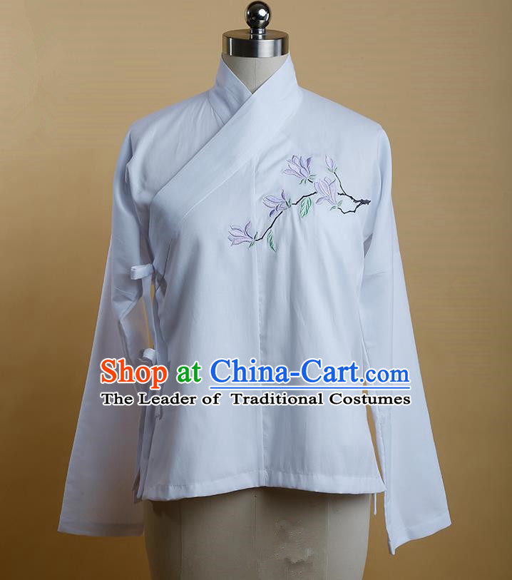Traditional Ancient Chinese Female Costume, Elegant Hanfu Clothing Chinese Ming Dynasty Imperial Princess Embroidered Hibiscus Rosa-Sinensis White Blouse for Women