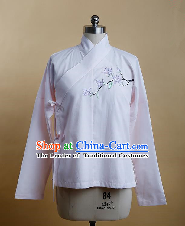 Traditional Ancient Chinese Female Costume, Elegant Hanfu Clothing Chinese Ming Dynasty Imperial Princess Embroidered Hibiscus Rosa-Sinensis Pink Blouse for Women