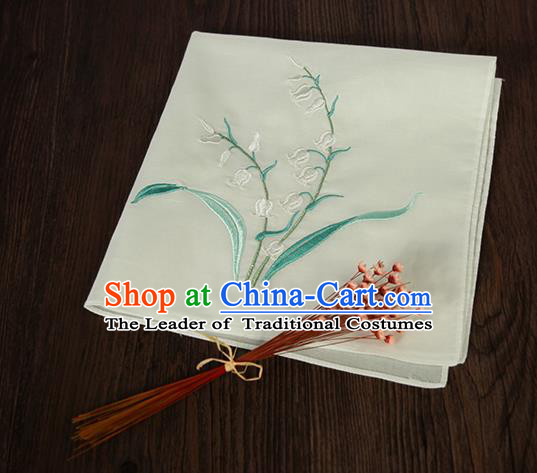 Traditional Ancient Chinese Palace Embroidered Keiskei Beige Handkerchief for Women