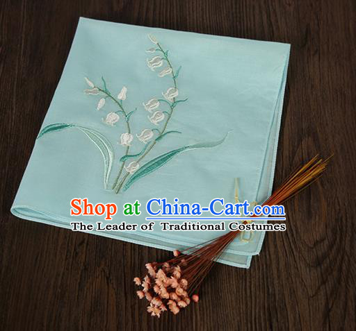 Traditional Ancient Chinese Palace Embroidered Keiskei Blue Handkerchief for Women