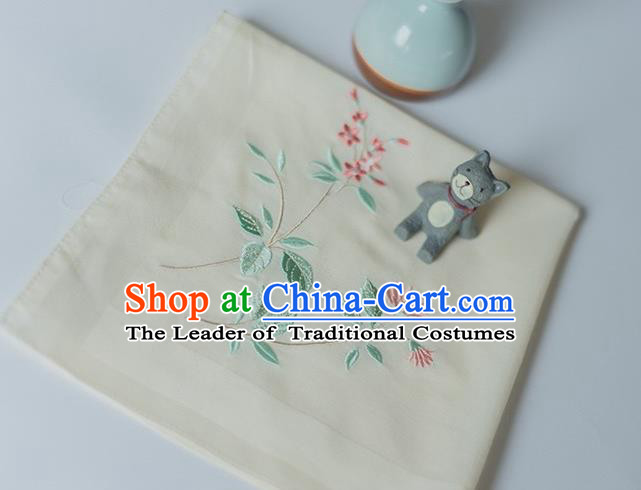 Traditional Ancient Chinese Palace Embroidered Hibiscus Rosa-sinensis Yellow Handkerchief for Women