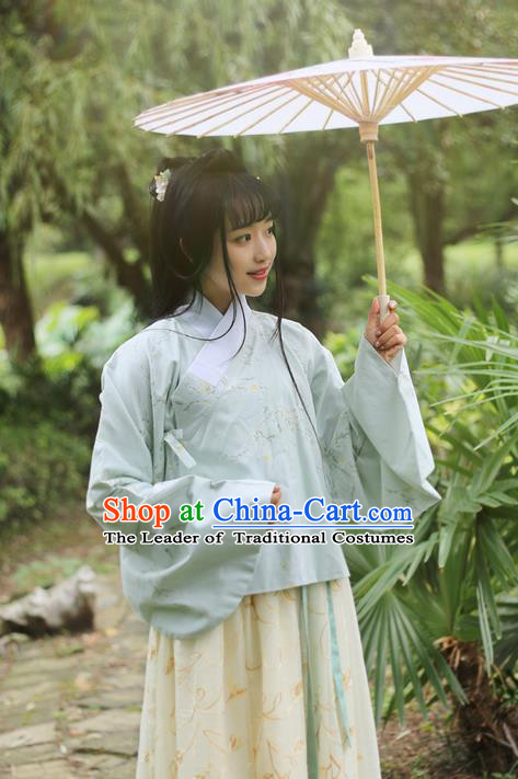 Traditional Ancient Chinese Female Costume Blouse, Elegant Hanfu Clothing Chinese Ming Dynasty Palace Lady Embroidered Short Coat Clothing for Women