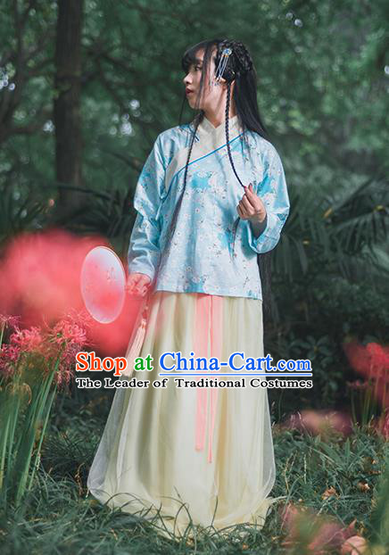 Traditional Ancient Chinese Female Costume Blouse, Elegant Hanfu Clothing Chinese Ming Dynasty Palace Lady Embroidered Oriental Cherry Blue Shirt Clothing for Women
