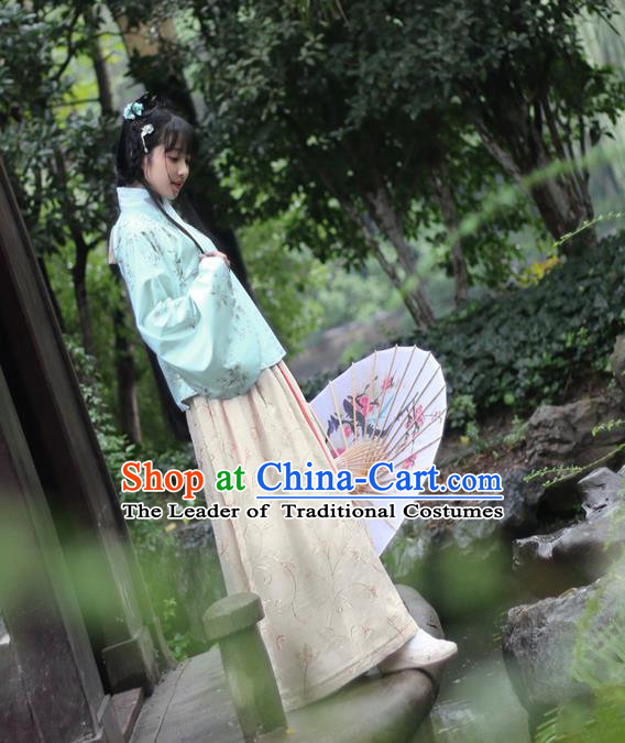 Traditional Ancient Chinese Female Costume Blouse and Skirt Complete Set, Elegant Hanfu Clothing Chinese Ming Dynasty Palace Lady Linen Embroidered Clothing for Women