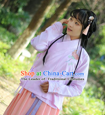 Traditional Ancient Chinese Female Costume Blouse, Elegant Hanfu Clothing Chinese Ming Dynasty Palace Lady Embroidered Lantern Shirt for Women