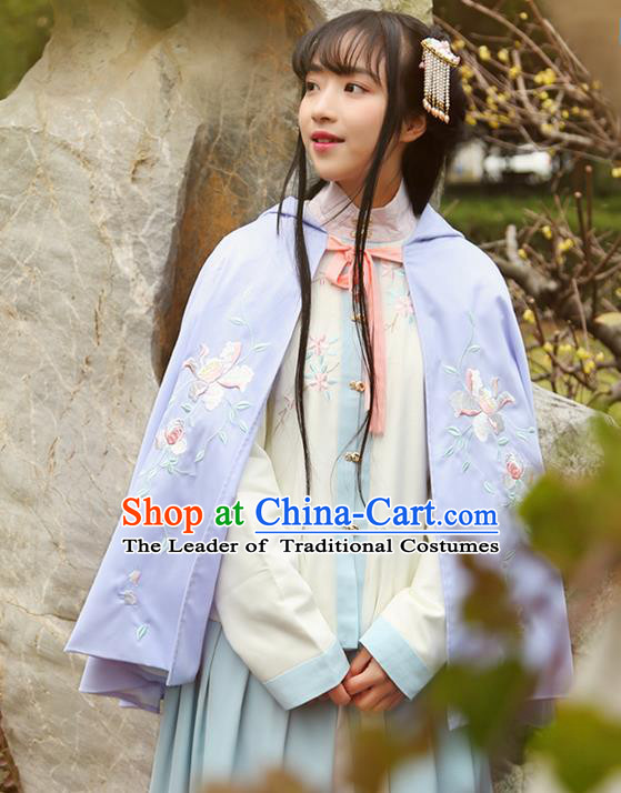 Traditional Ancient Chinese Female Costume Cardigan, Elegant Hanfu Short Cloak Chinese Ming Dynasty Palace Lady Embroidered Paeonia Lactiflora Hooded Cape Clothing for Women