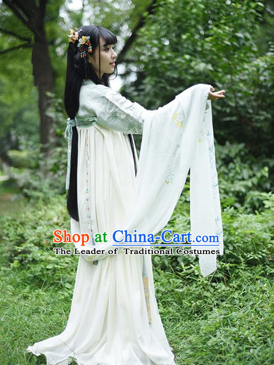 Traditional Ancient Chinese Female Costume Blouse and Dress Complete Set, Elegant Hanfu Clothing Chinese Ming Dynasty Palace Lady Embroidered Pine needles Clothing for Women