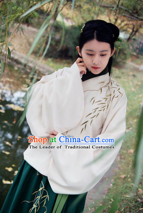 Traditional Ancient Chinese Female Costume Cardigan and Dress Complete Set, Elegant Hanfu Clothing Chinese Ming Dynasty Palace Lady Embroidered Willow Leaf Clothing for Women