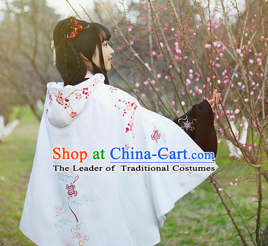 Traditional Ancient Chinese Female Costume Woolen Cardigan, Elegant Hanfu Short Cloak Chinese Ming Dynasty Palace Lady Embroidered Plum Blossom Hooded White Cape Clothing for Women