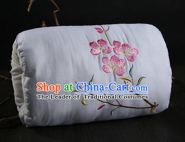 Traditional Ancient Chinese Embroidered Muff Embroidered Peach Blossom Bolster White Handwarmers for Women