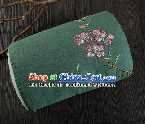 Traditional Ancient Chinese Embroidered Muff Embroidered Peach Blossom Bolster Deep Green Handwarmers for Women