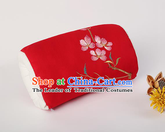 Traditional Ancient Chinese Embroidered Muff Embroidered Peach Blossom Bolster Red Handwarmers for Women