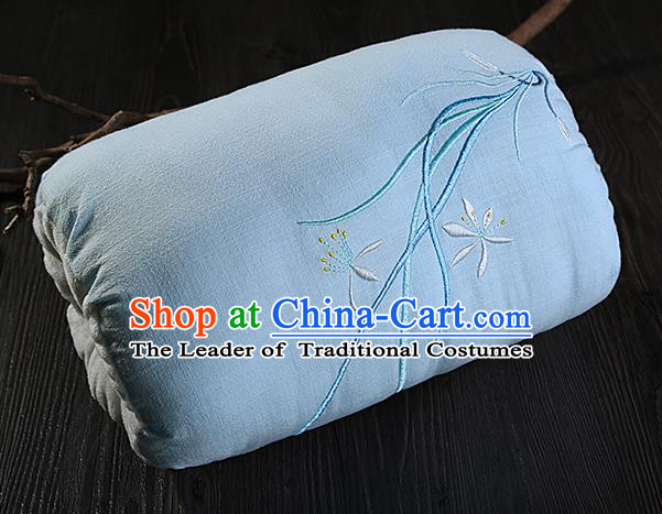 Traditional Ancient Chinese Embroidered Muff Embroidered Orchid Light Blue Handwarmers for Women
