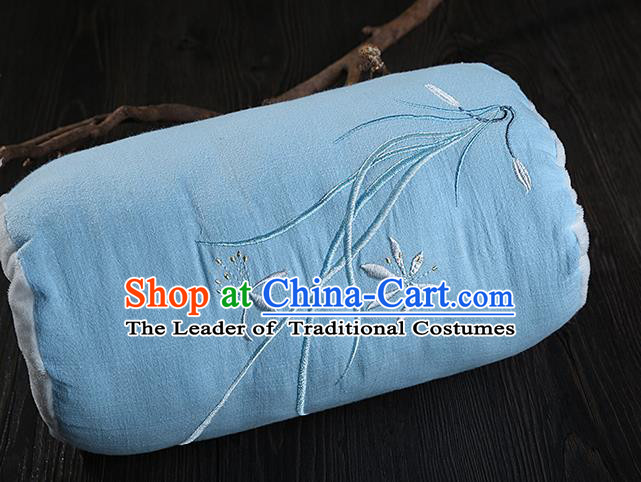 Traditional Ancient Chinese Embroidered Muff Embroidered Orchid Blue Handwarmers for Women