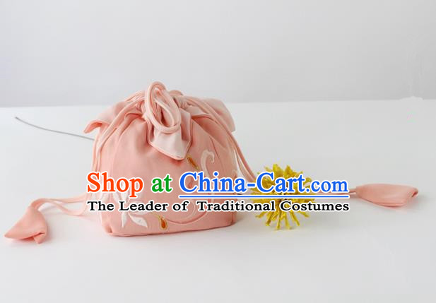 Traditional Ancient Chinese Embroidered Handbags Embroidered Lotus Pink Bag for Women