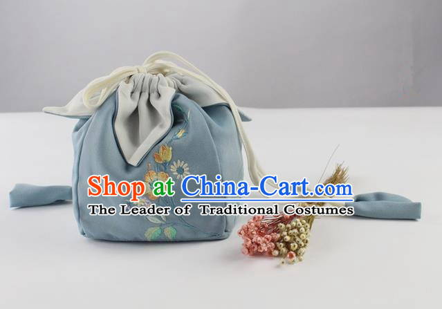 Traditional Ancient Chinese Embroidered Handbags Embroidered Hibiscus Rosa-sinensis Bag for Women