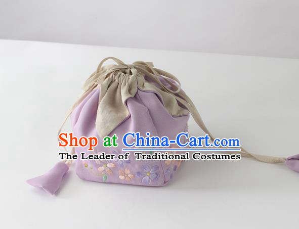 Traditional Ancient Chinese Embroidered Handbags Embroidered Sakura Lilac Bag for Women