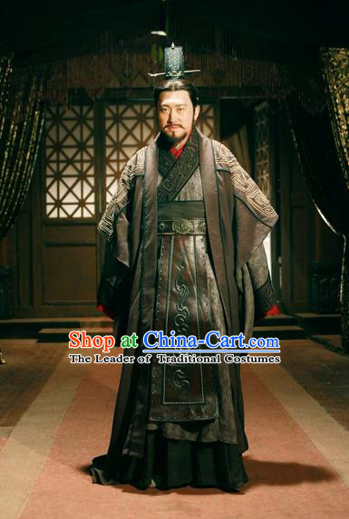Traditional Ancient Chinese Imperial Minister Costume and Hat Complete Set, Elegant Hanfu General Orphrey Dress Chinese Qin Dynasty Imperial Courtiers Embroidered Robes for Men
