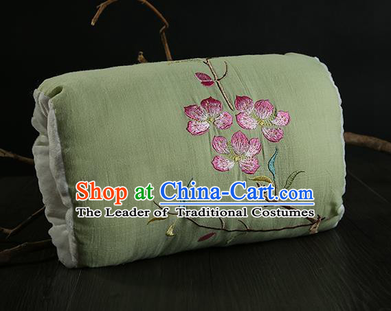 Traditional Ancient Chinese Embroidered Muff Embroidered Peach Blossom Bolster Pea Green Handwarmers for Women
