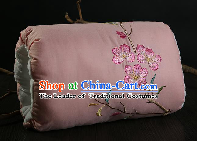 Traditional Ancient Chinese Embroidered Muff Embroidered Peach Blossom Bolster Pink Handwarmers for Women