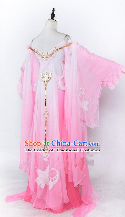 Traditional Asian Chinese Princess Costume, Elegant Hanfu Dance Wide Sleeves Clothing, Chinese Imperial Princess Tailing Embroidered Clothing, Chinese Cosplay Fairy Princess Empress Queen Cosplay Costumes for Women
