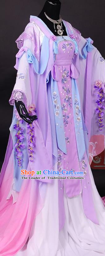 Traditional Asian Chinese Princess Costume, Elegant Hanfu Dress, Chinese Imperial Princess Tailing Embroidered Sakura Clothing, Chinese Cosplay Fairy Princess Empress Queen Cosplay Costumes for Women