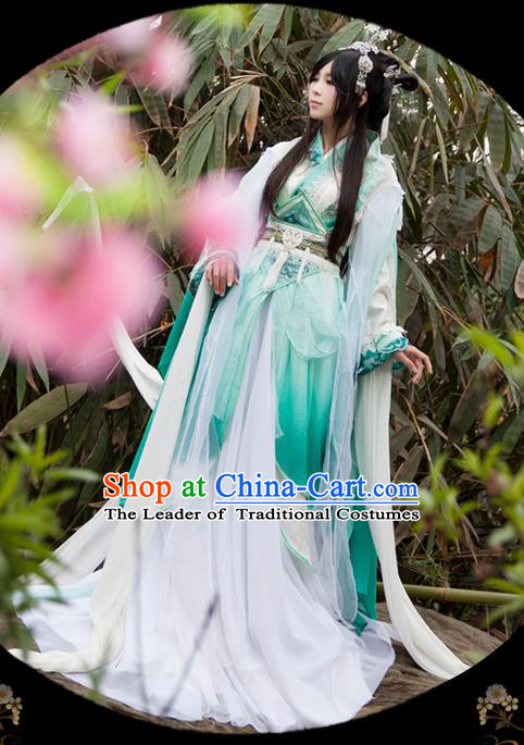 Traditional Asian Chinese Ancient Palace Princess Costume, Elegant Hanfu Blue Water Sleeve Dance Dress, Chinese Imperial Princess Tailing Clothing, Chinese Cosplay Fairy Princess Empress Queen Cosplay Costumes for Women