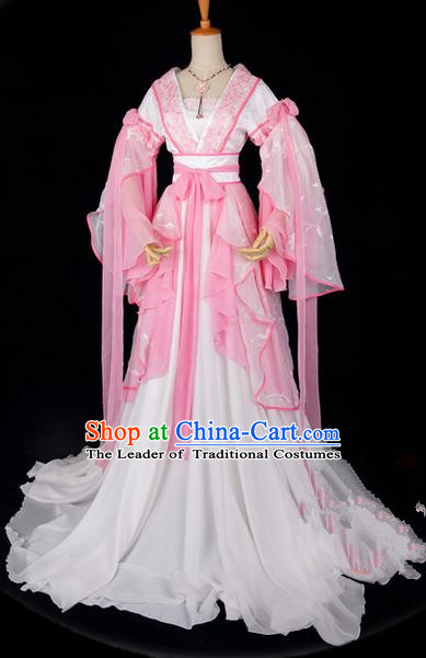 Traditional Asian Chinese Ancient Palace Princess Costume, Elegant Hanfu Embroidered Peach Blossom Pink Dress, Chinese Imperial Princess Tailing Embroidered Epiphyllum Clothing, Chinese Cosplay Fairy Princess Empress Queen Cosplay Costumes for Women