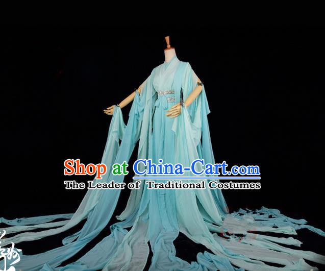 Traditional Asian Chinese Ancient Palace Princess Costume, Elegant Hanfu Water Sleeve Light Green Dress, Chinese Imperial Princess Tailing Clothing, Chinese Fairy Princess Empress Queen Cosplay Costumes for Women