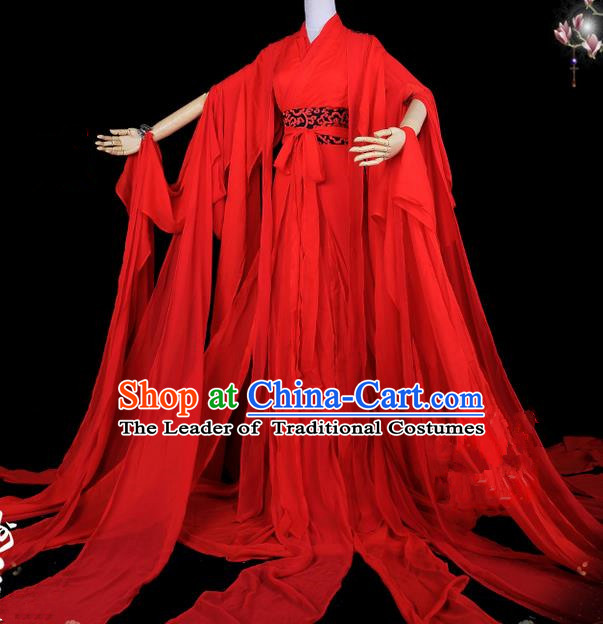 Traditional Asian Chinese Ancient Palace Princess Costume, Elegant Hanfu Water Sleeve Red Dress, Chinese Imperial Princess Tailing Red Clothing, Chinese Fairy Princess Empress Queen Cosplay Costumes for Women