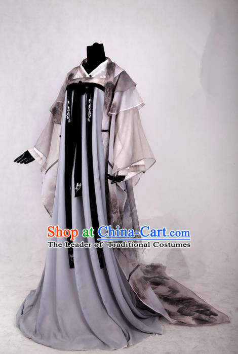 Traditional Ancient Chinese Imperial Consort Costume, Elegant Hanfu Ink Painting Dress Chinese Tang Dynasty Imperial Empress Tailing Clothing for Women