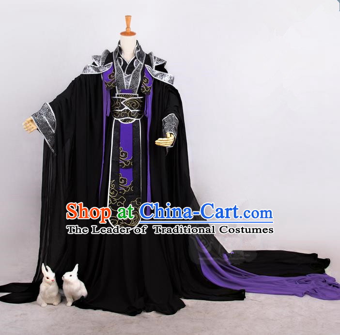 Traditional Asian Chinese Ancient Nobility Childe Costume, Elegant Hanfu Embroidered Black Dress, Chinese Imperial Prince Tailing Embroidered Clothing, Chinese Cosplay Prince Costumes for Men