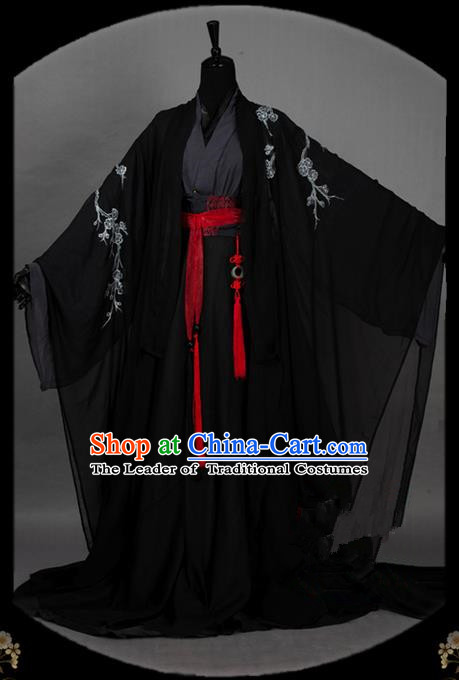 Traditional Asian Chinese Ancient Nobility Childe Costume, Elegant Hanfu Dress, Chinese Imperial Prince Tailing Embroidered Plum Blossom Clothing, Chinese Cosplay Swordsman Costumes for Men
