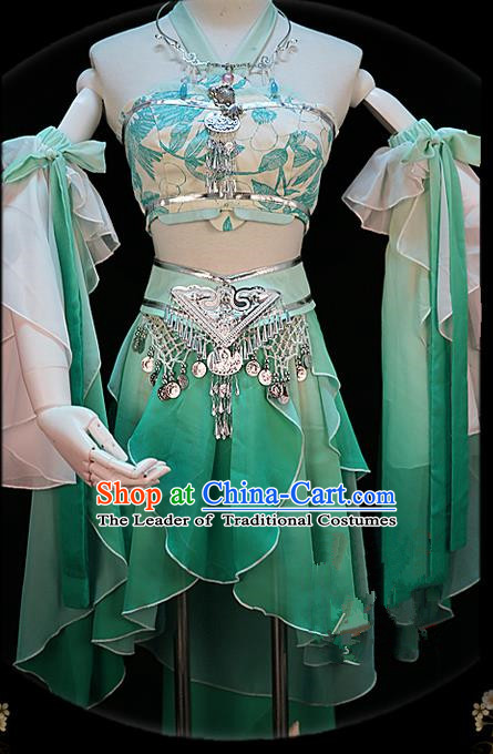 Traditional Ancient Chinese Palace Green Costume, Elegant Hanfu Cosplay Fairy Water Sleeve Dance Short Dress, Chinese Han Dynasty Imperial Princess Clothing for Women