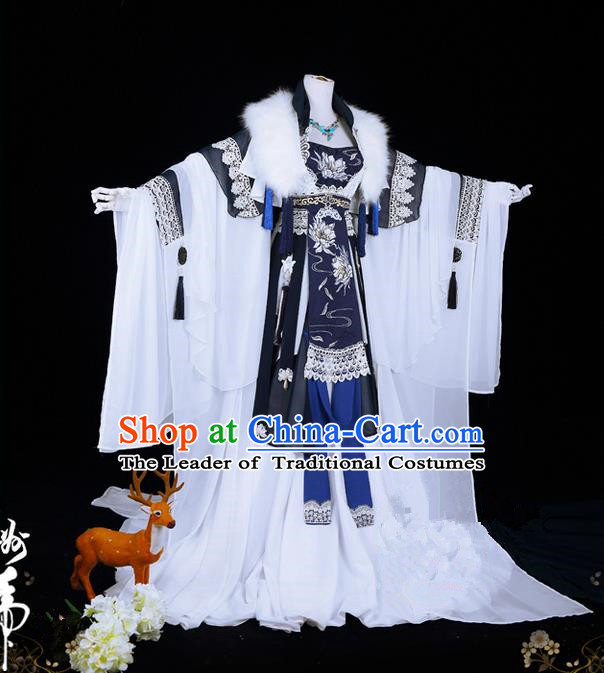 Traditional Ancient Chinese Palace Queen Costume, Elegant Hanfu Cosplay Fairy Wide Sleeve Dress Chinese Tang Dynasty Imperial Empress Embroidery Epiphyllum Cloud Tailing Clothing for Women