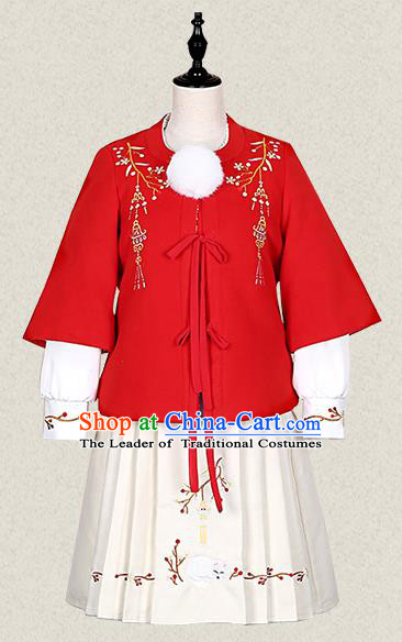 Traditional Ancient Chinese Female Costume Woolen Coat and Skirt Complete Set, Elegant Hanfu Clothing Chinese Ming Dynasty Palace Lady Embroidered Clothing for Women
