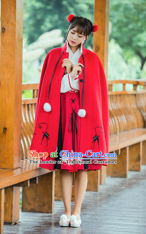 Traditional Asian Chinese Ancient Princess Woolen Red Cloak Costume, Elegant Hanfu Mantle Clothing, Chinese Imperial Princess Embroidered Deer Hooded Cape Costumes for Women
