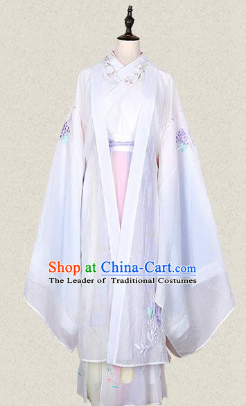 Traditional Ancient Chinese Female Costume Wide Sleeve Cardigan Blouse and Dress Complete Set, Elegant Hanfu Clothing Chinese Tang Dynasty Palace Lady Embroidered White Cassiae Clothing for Women