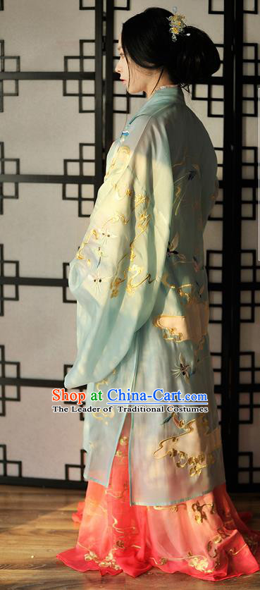 Traditional Ancient Chinese Female Costume Wide Sleeve Cardigan Blouse and Dress Complete Set, Elegant Hanfu Clothing Chinese Song Dynasty Palace Lady Embroidered Crane Clothing for Women