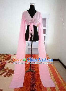 Traditional Chinese Long Sleeve Water Sleeve Dance Suit China Folk Dance Chiffon Long Pink Ribbon for Women